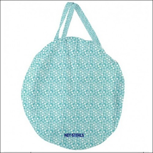 Net-Steals New, Giant Round Zipper Tote Bag - Teal Floral